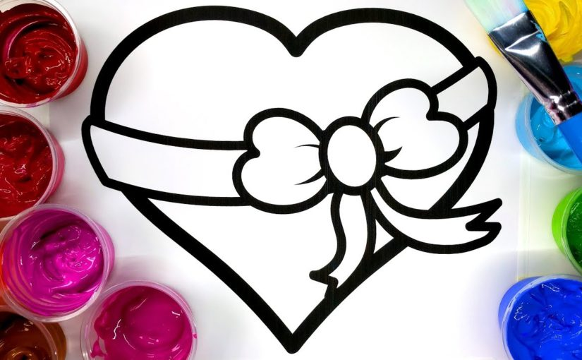 Coloring Pretty Heart Painting Page, Children can Learn to Color with Paint
